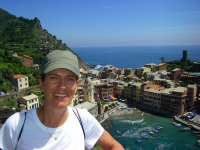 Denise above Vernazza